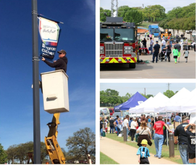 Bedford Texas, multiple shots of community events including a firetruck, hanging a banner on a pole and tents set up with vendors.