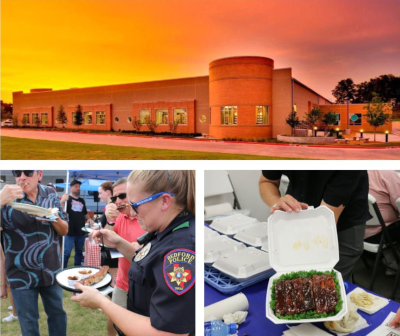 Bedford Texas. A building with an orange sky behind it at top. Below are photos of people eating food at an event.