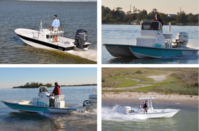 The Sportsman. Four separate photos of different style boats in action.