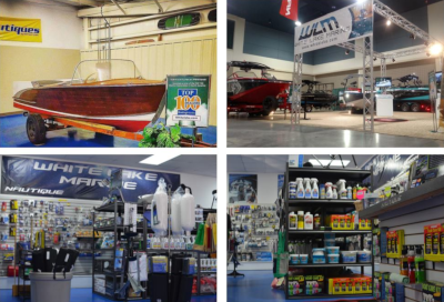 White Lake Marine inside view of their store. Multiple shots of boats on display and maintenance supplies.