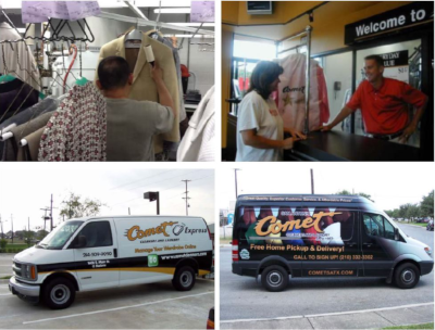 A four photo combination, the top two showing customers or employees inside of Comet Cleaners. The bottom two photos are pictures of Comet Cleaner vans.