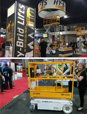 Hy-brid Lifts by Custom Equipment. Two photos from a trade show/conference showing their lifts.