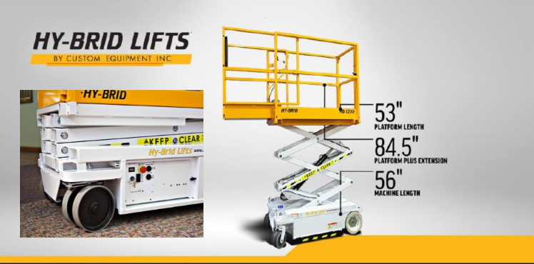 A Hy-brid lifts by Custom Equipment, a photo with information regarding a 53 inch platform length, 84.5 inch platform plus extension and 56 inch machine length.