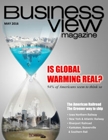 May 2016 issue cover of business view magazine. A graphic showing an hourglass with a glacier and water in the top and an industrial city below, with the headline of Is Global Warming Real?