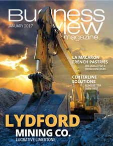 January 2017 issue cover for Business View Magazine, featuring Lydford Mining Co.