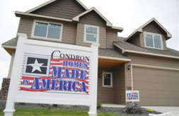 Condron Homes Made in America sign in front of a home.