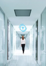 Electro-Federation Canada. A woman walks down a hallway.
