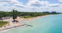 Sarnia, Ontario aerial beach view.