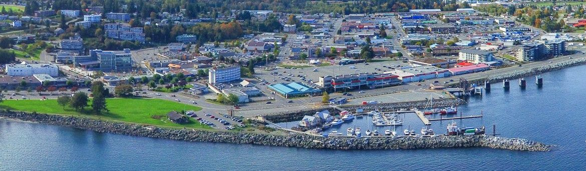 Capmbell River British Columbia waterfront aerial view.
