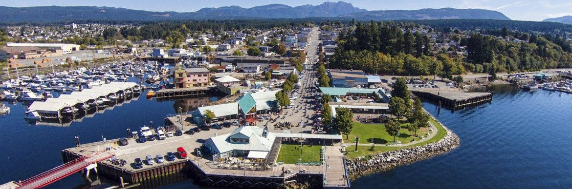 Port Alberni British Columbia. Aerial view of the harbor.