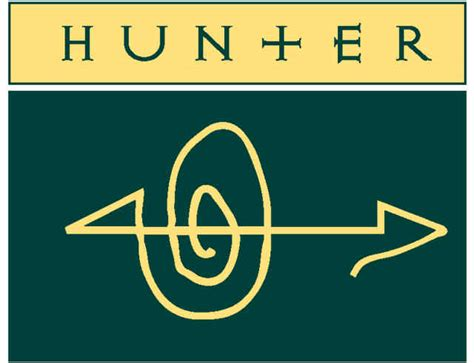 Hunter Panels logo. The word Hunter at top and a symbol below with a swirl and arrow.