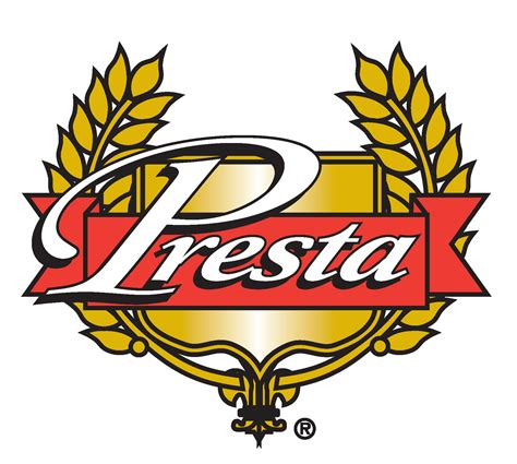Presta Logo, The word Presta on a banner in front of a sort of shield or crest with grains of wheat on either side.