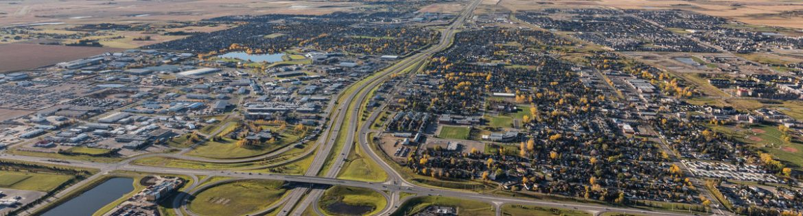 Aerial view of Airdrie Alberta.
