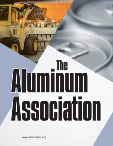 Aluminum Association brochure cover showing an excavator and aluminum cans.