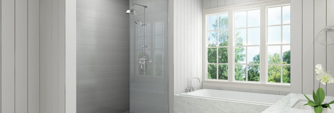 Bestbath bathroom with a shower and tub with a window over the tub.