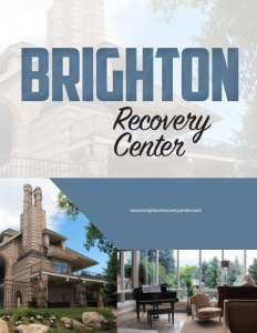 Brighton Recovery Center brochure cover with a photo of the outside of their building and one of an inside room with chairs and glass windows floor to ceiling.