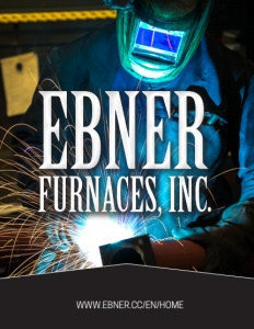 Ebner Furnaces Inc brochure cover, showing a person welding wearing protective gear.