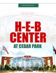 H-E-B Center at Cedar Park brochure cover.