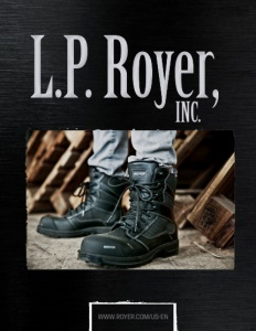 L.P. Royer, Inc. brochure cover showing a pair of boots being worn from a little above the ankle, down.