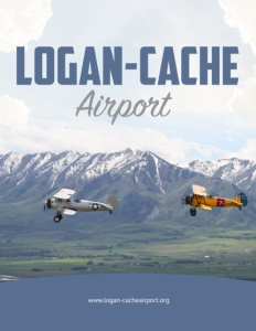 Logan-Cache Airport brochure cover page showing two biplanes flying with mountains behind.