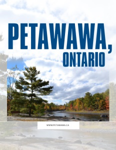 Petawawa Ontario brochure cover showing trees, clouds and a river.