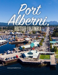 Port Alberni British Columbia brochure cover showing an aerial view of the area.