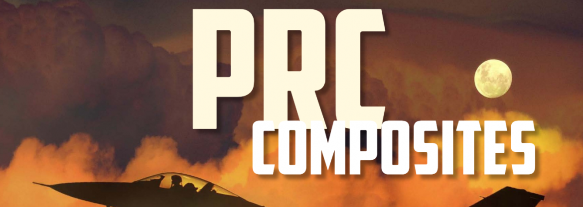 PRC Composites text on top of an orange sky background with clouds and a moon. Peaking up from the bottom left and right are the cockpit and tail of a jet.