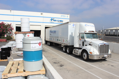 A Revchem Composites semi truck and trailer loading up with a delivery at Revchem Composites.