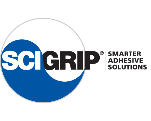 Scigrip logo, a blue and white circle with a yin and yang swirl separating each half with SCIGRIP on top. To the right it says smarter adhesive solutions.