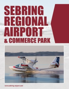Sebring Regional Airport & Commerce Park brochure cover showing a plane on the water.