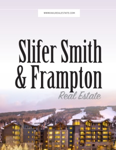 Slifer Smith Frampton Real Estate brochure cover showing a large multi story apartment building with a mountain behind and indoor lights on in each unit.