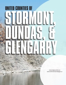 United Counties of Stormont, Dundas, & Glengarry brochure cover showing a hill on the side of a body of water.