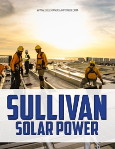 Sullivan Solar Power brochure cover with men working on a rooftop wearing protective helmets and clothing.