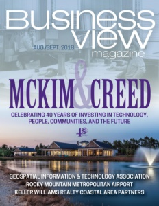 August 2018 issue cover for Business View Magazine, featuring McKim & Creed.