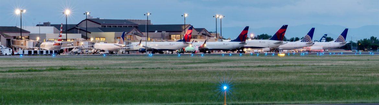 Bozeman Yellowstone International Airport view of jumbo jets lined up.