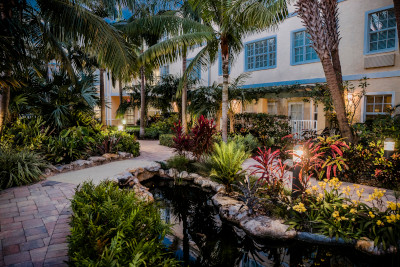 Futures of Palm Beach grounds showing a walkway outside with landscaping and trees and a building in the background.
