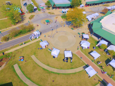 Park Forest Illinois, aerial view of the city with tents set up for an event.