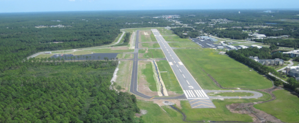 Cape Fear Regional Jetport runway aerial view.