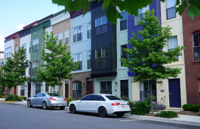 Hyattsville, Maryland arts district townhouses.