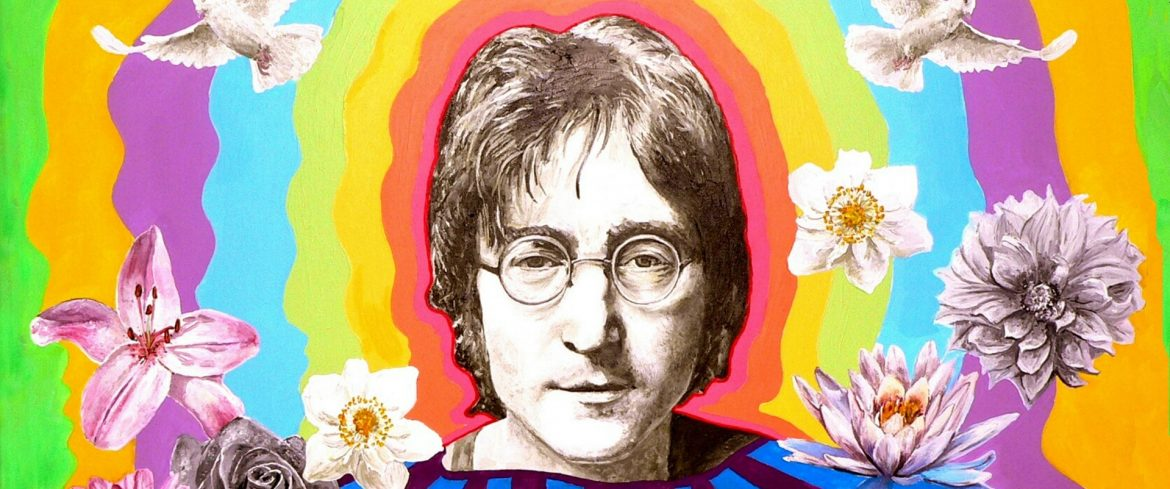 John Lennon art with his face and a colorful background with flowers.