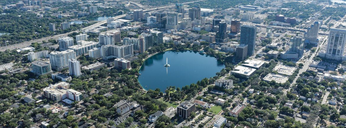 Orlando Florida aerial view of the city.