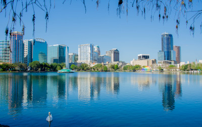 Orlando Florida lake Eola skyline view.