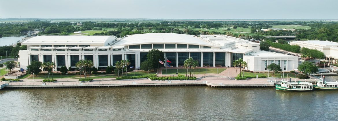 The Savannah International Trade & Convention Center aerial view from the river.