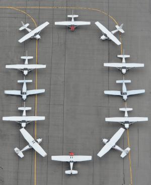 The Ohio State University Airport block O planes.