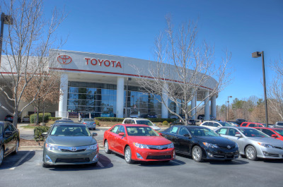 Anderson Automotive Group Toyota building with cars out front.