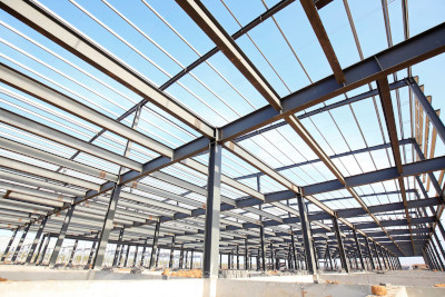 Cameron Manufacturing & Design Inc. new construction site with metal I beams.