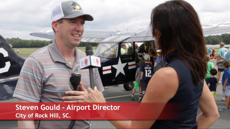 Rock Hill-York County Airport Director Steven Gould being interviewed on the news during an event.