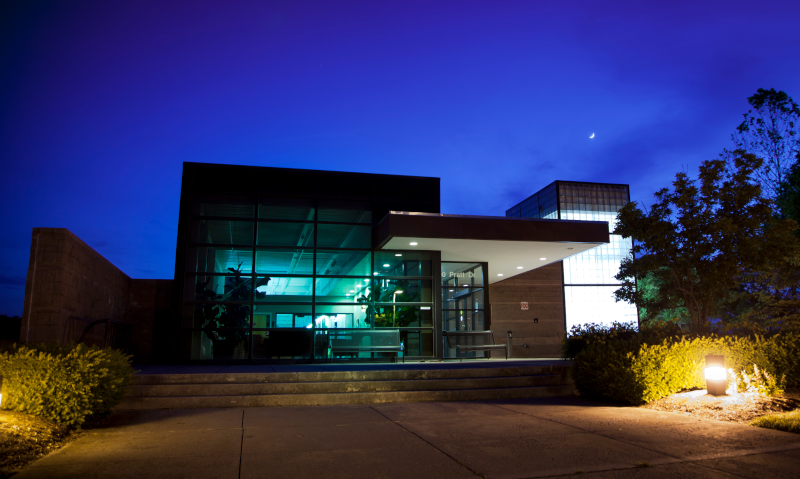Virginia Tech Corporate Research Center. Nighttime view of a building.