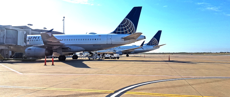 McAllen International Airport, commercial jets pulled up at their terminals.