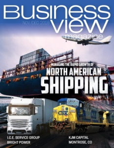 November 2018 issue cover for Business View Magazine, featuring North American Shipping.